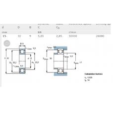 Шарикоподшипник радиальный 6002-2Z/С3 SKF